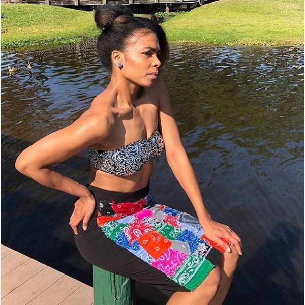 Bandanna Patched Pencil Skirt
